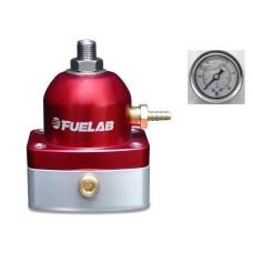 Fuelab 54501-1 Universal Red EFI Adjustable Mini Fuel Pressure Regulator **WIth Gauge**