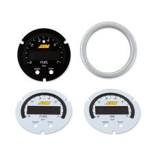 AEM X-Series Pressure Gauge 0~100psi / 0~7bar Accessory Kit. Silver Bezel. Black Fuel Faceplate. White Oil & Fuel