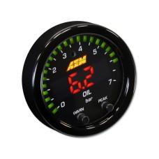 AEM X-Series Pressure Gauge 0~100psi / 0~7bar . Black Bezel & Black Oil Faceplate